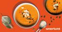Smartum lounasetu tomaattinen keitto oranssilla taustalla